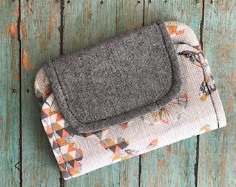 SALE-Zip Pocket Pouch-zipper pouch-coin purse-wallet -small clutch- gray coral aqua-butterfly