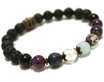 LAVA Gemstone Oil Diffuser Wellness bracelet, Anti Anxiety, sleep aid, Health, Stretch bracelet, Well-being,Holistic Healing, crystal energy