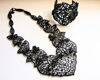 Huge Vintage Ann Taylor Black Statement Rhinestone Necklace and Cuff Bracelet