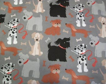 Multiple Dogs on Gray - Snuggle Cotton Flannel Fabric - BTY