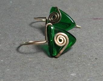 Green Triangle Earrings Emerald Green Geometric Jewelry Spiral Gold Earrings
