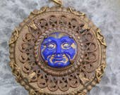 Man in the Blue Moon in vintage brass and Czech glass..a one of a kind celestial pendant..