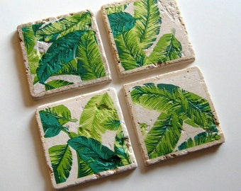 Tropical Leaves - Tumbled Stone Earth Coasters - art papers, botanical home décor, tropical coasters, beverage coasters, stone, hostess gift
