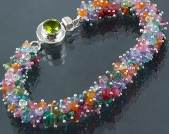 FINAL SALE - Multi Stone Cluster & Sterling Silver Bangle Style Bracelet