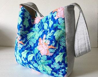 Poppies and linen hobo bag