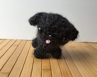 Black Poodle Puppy Amigurumi Doll