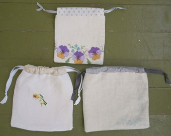 RESERVED FOR CARL set of three drawstring bags from vintage fabrics