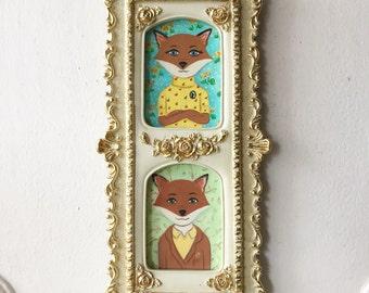 Mr. and Mrs. Fantastic Fox Family Portrait Illustration Framed