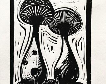 King Oyster mushroom dwellings block print