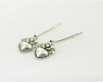 Antique silver heart with flowers charm dangle earrings, Love,Valentine, Sweetheart earrings, Summer, Bride, Gift for her, Whimiscal jewelry
