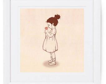 Girl with flower art print, vintage style children's illustration, Lola's Flowers