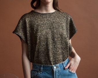deadstock gold knit dolman sleeve sweater / metallic knit top / metallic oversized top / s / m / 2128t / B21