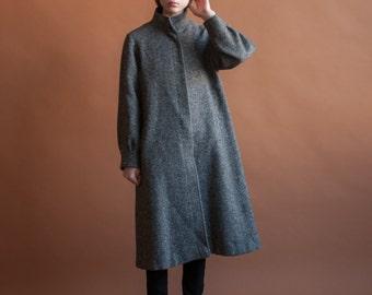 a line tweed coat / midi minimalist coat / winter coat / s / 2148o / R3
