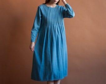 denim pintuck midi maxi dress / babydoll dress / pintuck dress / s / m / 2139d / B7