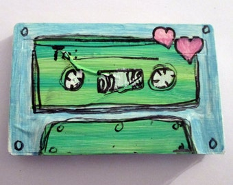 Mix Tape Love painting - art on a recycled cassette tape, 80's wall art, retro room decor, punk rock, music lover gift
