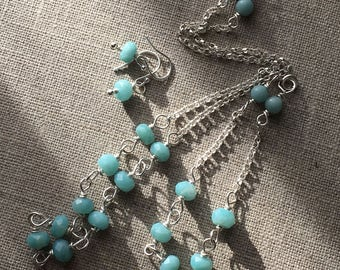 Amazonite Sterling Silver Necklace Bracelet Earrings Jewellery Set. Teal Semiprecious Beaded Jewellery. Gift for Her. UK Seller