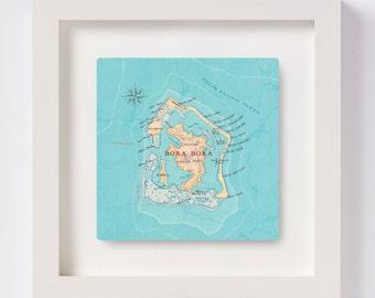 Bora Bora Map Square Print - Bora Bora Map - personalised wedding gift - anniversary - Leeward isles, Society Islands - French Polynesia map