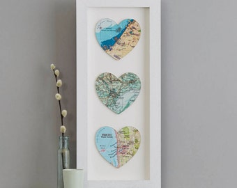 Three Map Location Hearts Print - wedding gift - anniversary gift for wife - personalised map gift - world map,  anniversary gift for her