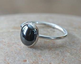 Oval Hematite Ring 8 x 10 mm in Sterling Silver, Size 2 to 15, Stacking Ring, Womens Jewelry, Solitaire Ring, Gift for Her, Stack Ring, Grey