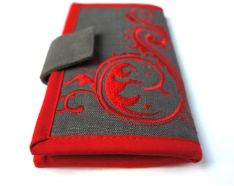 MADE TO ORDER | Womans Wallets | Long bifold wallet | Embroidered Red Flourish Wallet | Modern womens wallet | Gifts for women