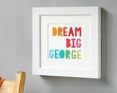 WINTER SALE Dream Big Framed Print Personalised Keepsake. New Baby Print. Personalised Nursery Artwork. Inspirational Quote Print. Framed Ke