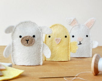 Spring Finger Puppets Craft Kit - Make Your Own - Children's Sewing Kit - Creative Activity Kit - Finger Puppet Toy - Animal Lover