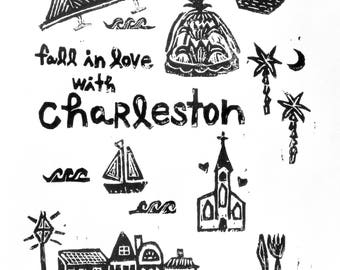 "fall in love with Charleston - linoleum block print - 9""x12"" wall art"