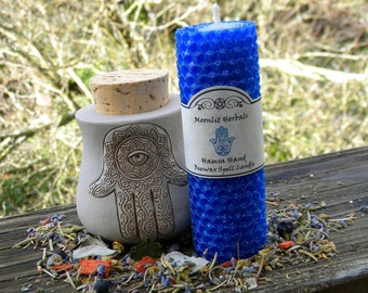 Hamsa Hand Beeswax Spell Candle - Energetic Protection, Shielding, Warding, Deflecting the Evil Eye, Hand of Fatima, Pagan Supplies, Wicca