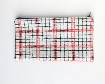 Plaid wool pouch