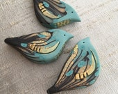 Gilded Bramble Bird Bead - Icy Blue