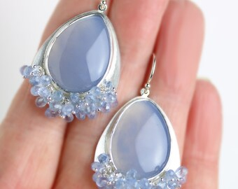 Natural Blue Chalcedony Silver Earrings with Blue Sapphire Fringe
