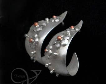 Fine silver and copper wide hoop post earrings
