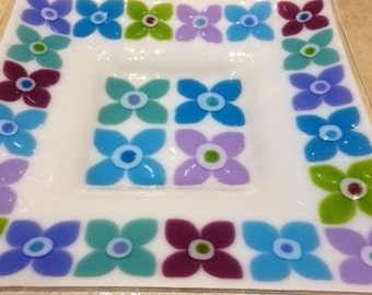 Fused glass fruit dish large platter Fleur 30cm square