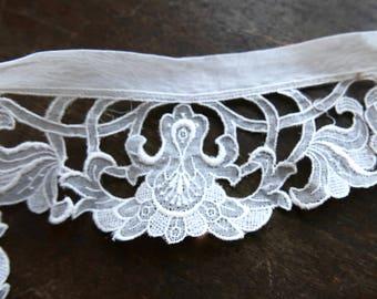 Antique Victorian White Organdy Cutwork Lace Trim