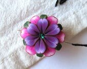 Pink and Purple Flower Needle Minder, Magnetic Needle Nanny Handcrafted from Claybykim