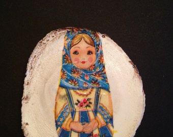 Fridge Magnet, Matryoshka, Russian Doll, Blue and Yellow