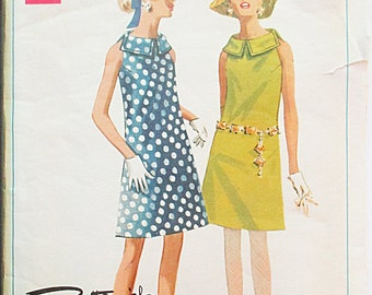 1960s Vintage Sewing Pattern Butterick 4789 Boutique Misses One-Piece Dress Pattern Size 10 Bust 32 1/2