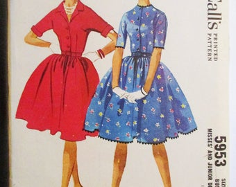 1960s Vintage Sewing Pattern McCalls 5953 Misses Dress Pattern Size 12 Rockabilly Dress Pattern