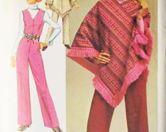 1970s Vintage Sewing Pattern Simplicity 9066 Misses Jiffy Jumpsuit & Poncho Pattern Size 12 Bust 34