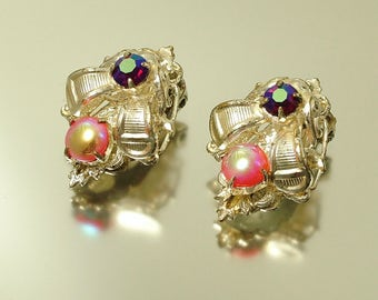 Vintage/ estate 1950s silver plated and paste rhinestone, costume clip on earrings - jewelry jewellery