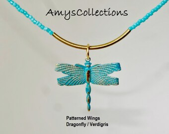 Delicate Tube Necklace with your choice of Patina Handpainted Charm/Pendant and necklace