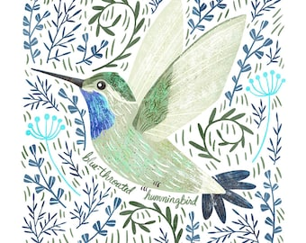 Blue-Throated Hummingbird Art Print - square digital illustration by Stephanie Fizer Coleman