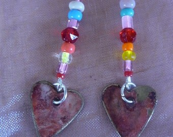 Heart to Heart. Dangle earrings, beads, glass, brass, metal, Valentines, Gift for her, red, pink.