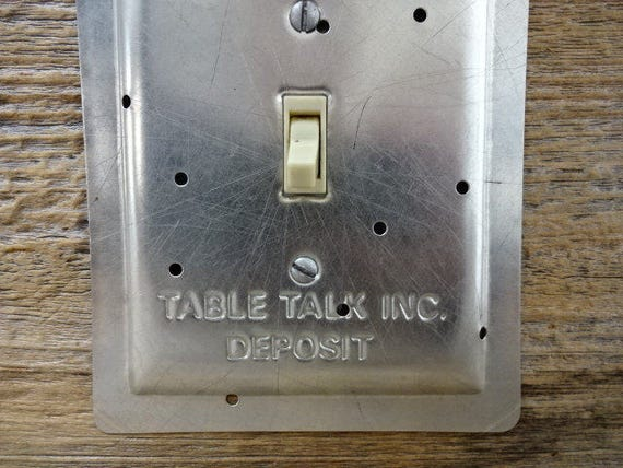 Light Switch Cover Plates Made From Vintage Bakeware Table