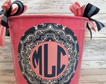 ON SALE custom monogrammed preppy bucket in pink and navy blue - personalized