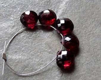 AAA GARNET Faceted Heart Briolette Beads - 7mm - 5 Beads