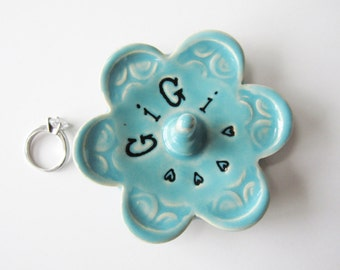 Gigi ring dish - Gift for GiGi - Keepsake Ring Dish -  Glazed in Sea Isle Turquoise - Gift box included
