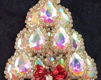 Exquisite Aurora Borealis Rhinestone Christmas Tree Pin Brooch Signed LaHeir