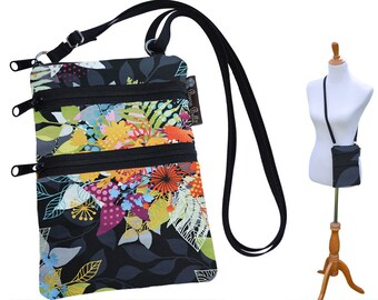 Ella Bella Purse - Cross body Purse - 3 Zippered Pockets - Adjustable Strap - Washable - FAST SHIPPING - Cell Phone Purse - Murano Glass