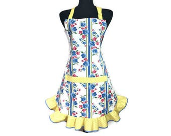Blue and Pink Floral Apron for women with Retro Style Yellow Ruffle , Adjustable with pocket , / Rockabilly / Pin up Girl style